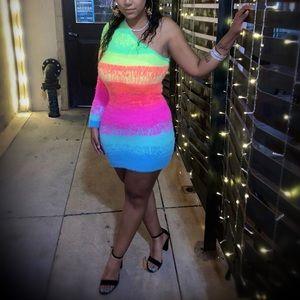 Rainbow Kiss One Shoulder Sweater Dress
